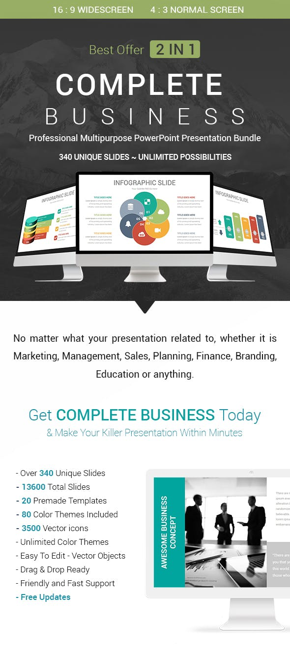 complete business 2 in 1 powerpoint presentation template bundle