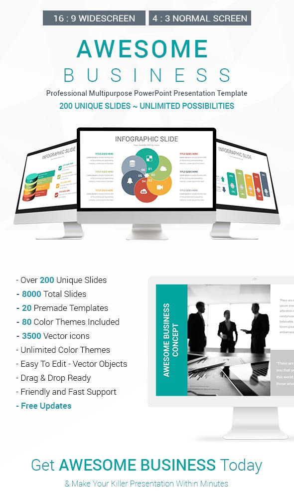 awesome business powerpoint presentation template by slidaria