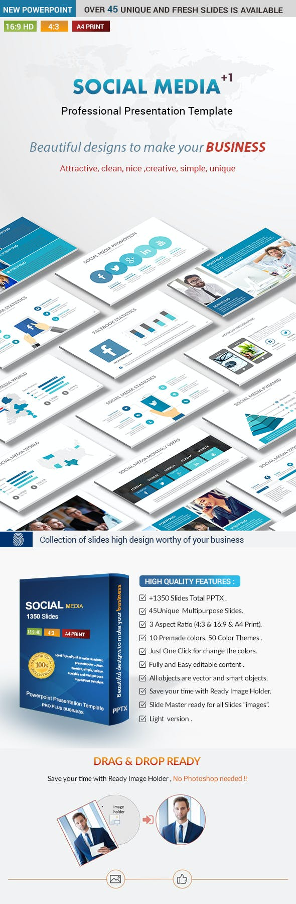 social media business powerpoint presentation template by rengstudio