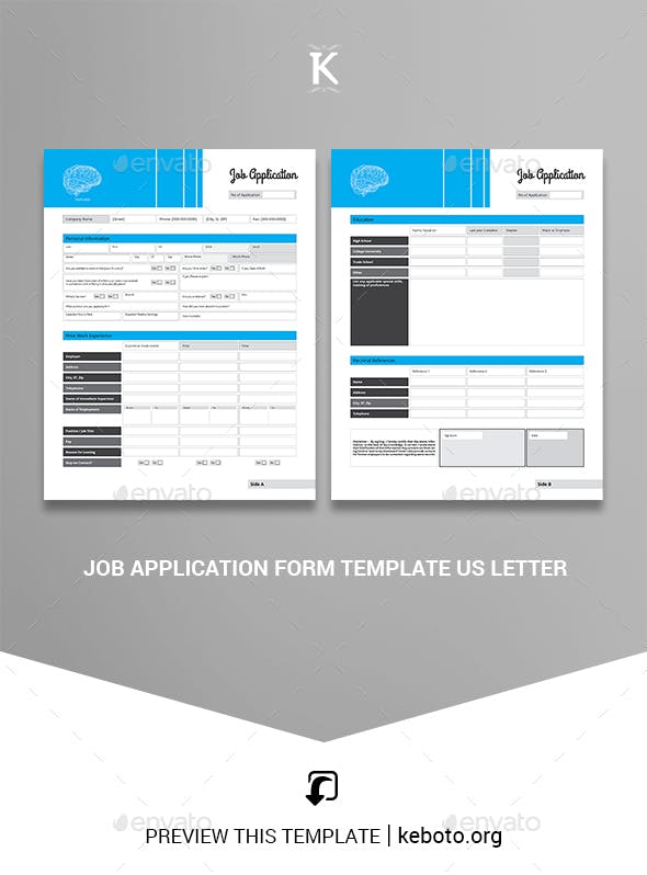 job application form template us letter by keboto graphicriver