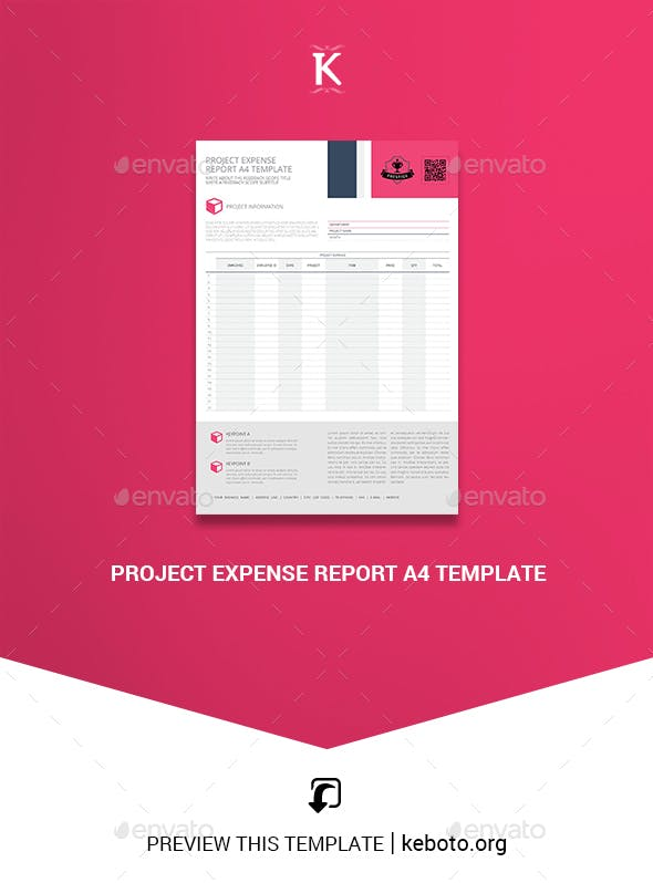 project expense report a4 template by keboto graphicriver