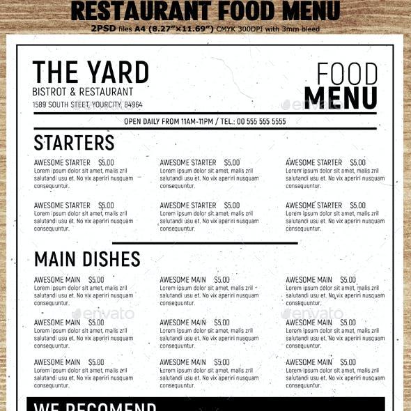 minimal restaurant food menu template