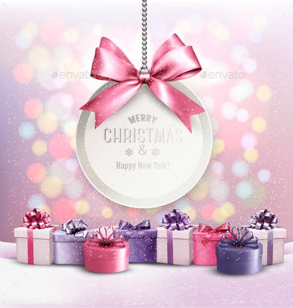 Holiday Christmas Background With A Gift Card And Presents By Almoond