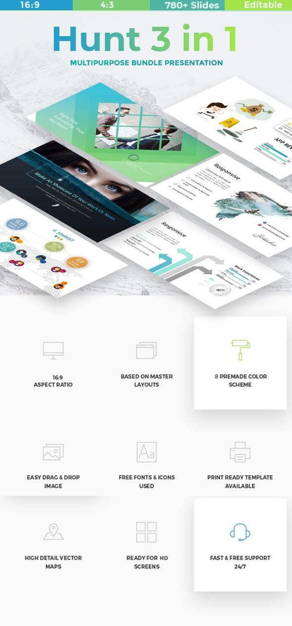 hunt 3 in 1 bundle business creative google slide template by