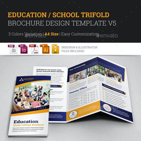 Education College Trifold Brochure Design Template V5