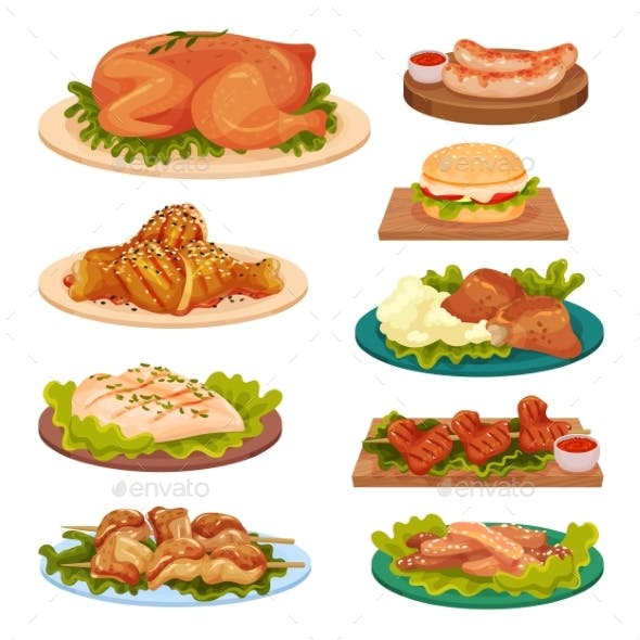 Collection Of Tasty Poultry Dishes Fried Chicken By Happypictures