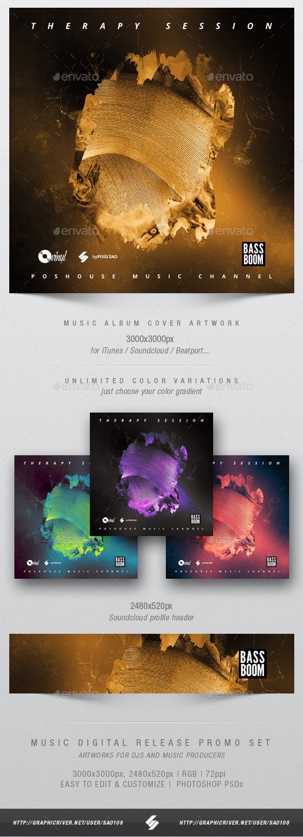 therapy session music album cover artwork template by sao108