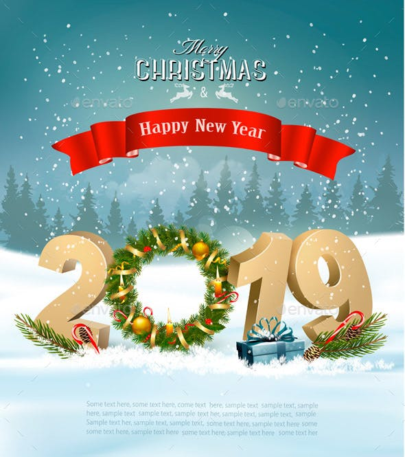 happy new year 2019 background with presents and wreath christmas seasonsholidays