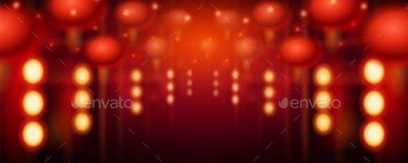 blur of street decorations for new year lantern seasonsholidays conceptual