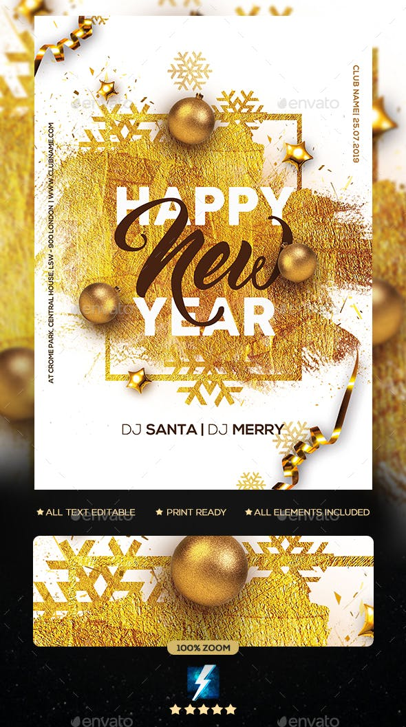 New Year Party Flyer Photoshop Template - Clubs & Parties Events