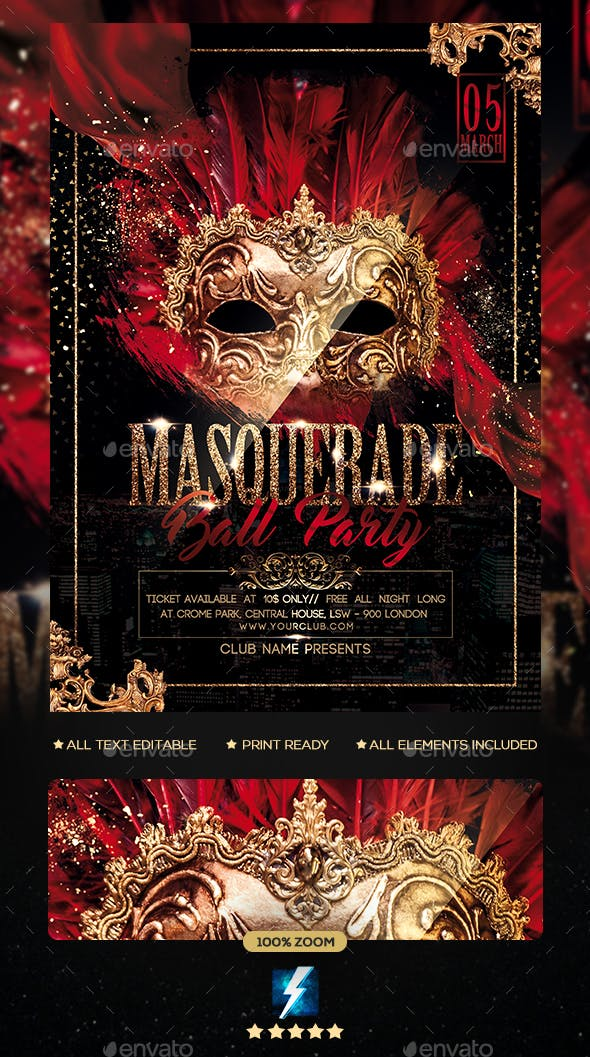 masquerade ball party flyer by sparkg graphicriver