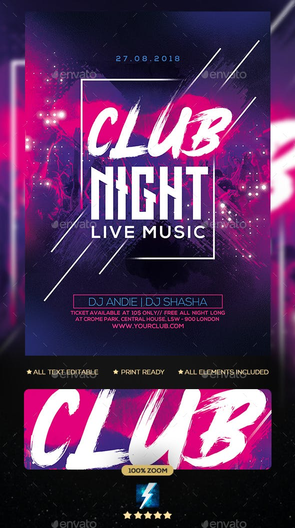club night party flyer by sparkg graphicriver