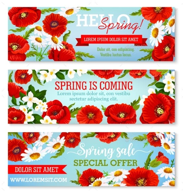 Vector Banners For Spring Time Flowers Sale By Vectortradition