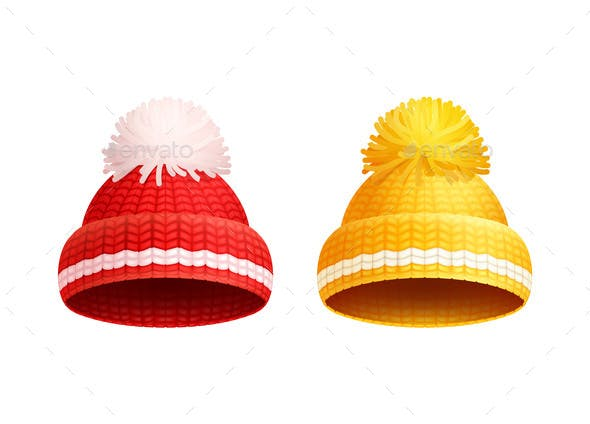 Knitted Red Yellow Hat with Pom-Pom Vector Icon - Man-made Objects Objects 09e74a128d9