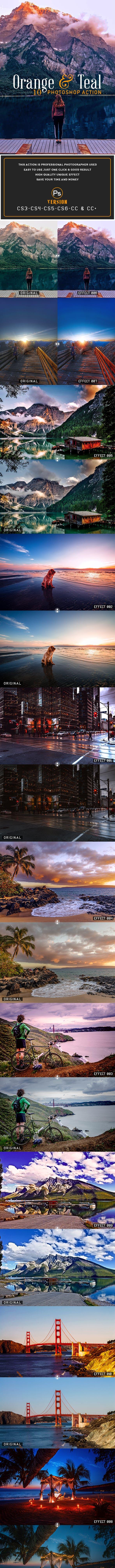 Скачать [Graphicriver] 10 Orange & Teal Photoshop Action (2019), Отзывы Складчик » Архив Складчин