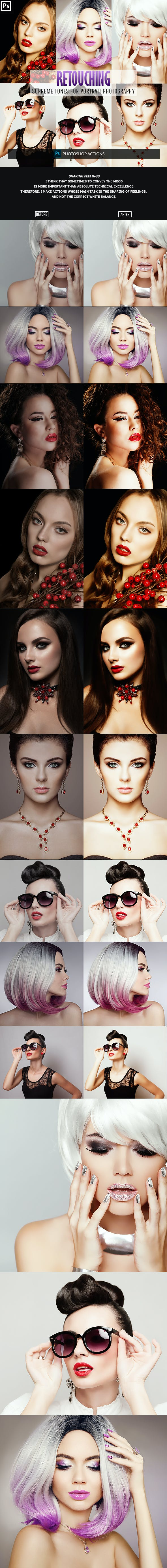 Retouching One Click Photoshop Action - Actions Photoshop
