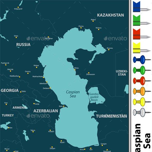 Map of Caspian Sea by sateda2012 | GraphicRiver