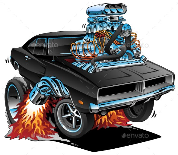 Classic Sixties Style American Muscle Car By Jeffhobrath Graphicriver
