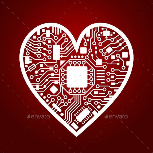 8d828cefe49 Valentines Day Red Background with Cyber Heart