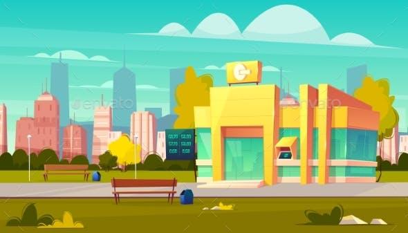 Modern City Bank Office Building Cartoon Vector By Vectorpouch