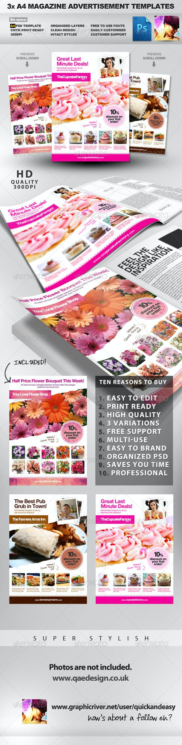 3x a4 psd magazine advert templates by quickandeasy graphicriver