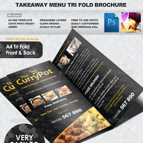 Takeaway Food Menu Trifold Brochure Template By Quickandeasy Graphicriver