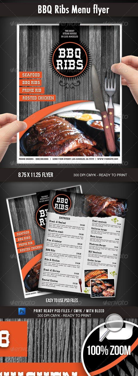 bbq restaurant menu flyer by boca2600 graphicriver