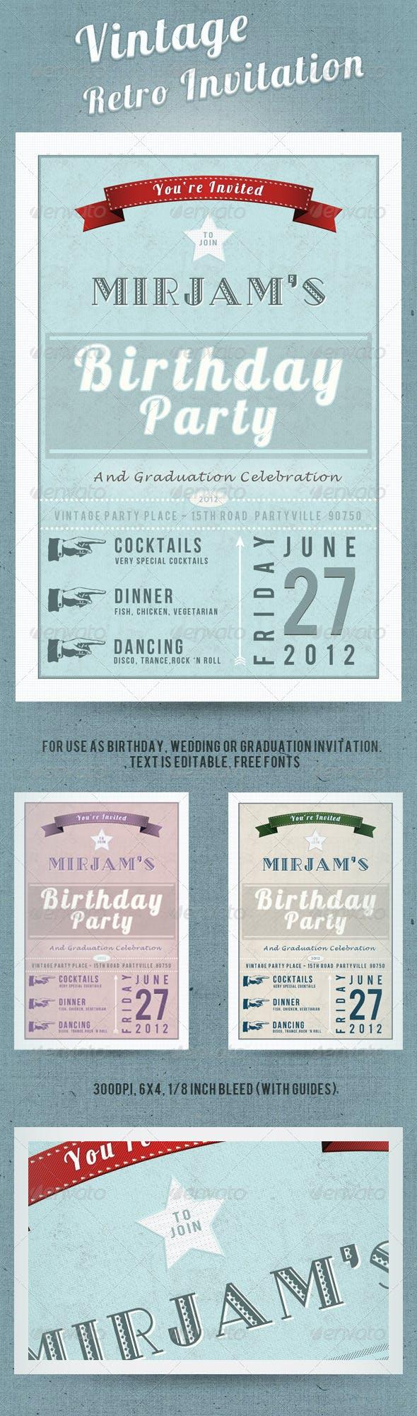 vintage retro invitation postcard by 026design graphicriver