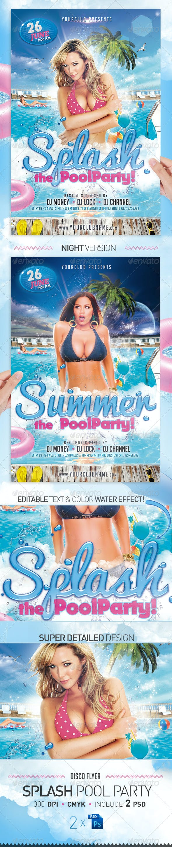 splash pool party flyer template by jellygraphics graphicriver