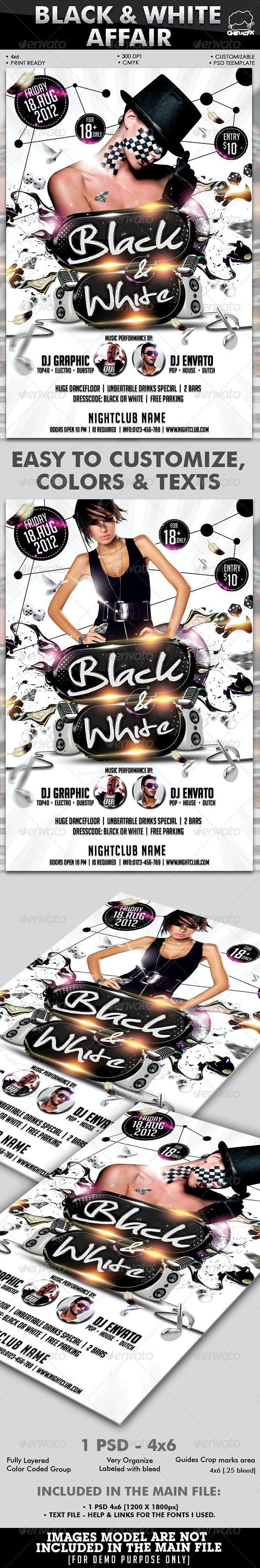 black white affair flyer template by hermz graphicriver