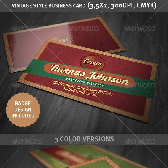 Template vintage business card templates designs page 6 vintage style business card wajeb Gallery