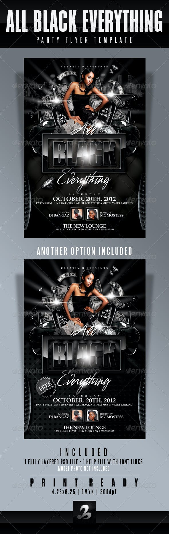 all black everything party flyer template by creativb graphicriver