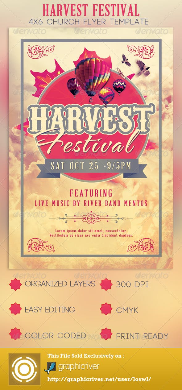 harvest festival church flyer template by loswl graphicriver