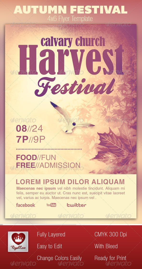 autumn festival church flyer template by royallove graphicriver