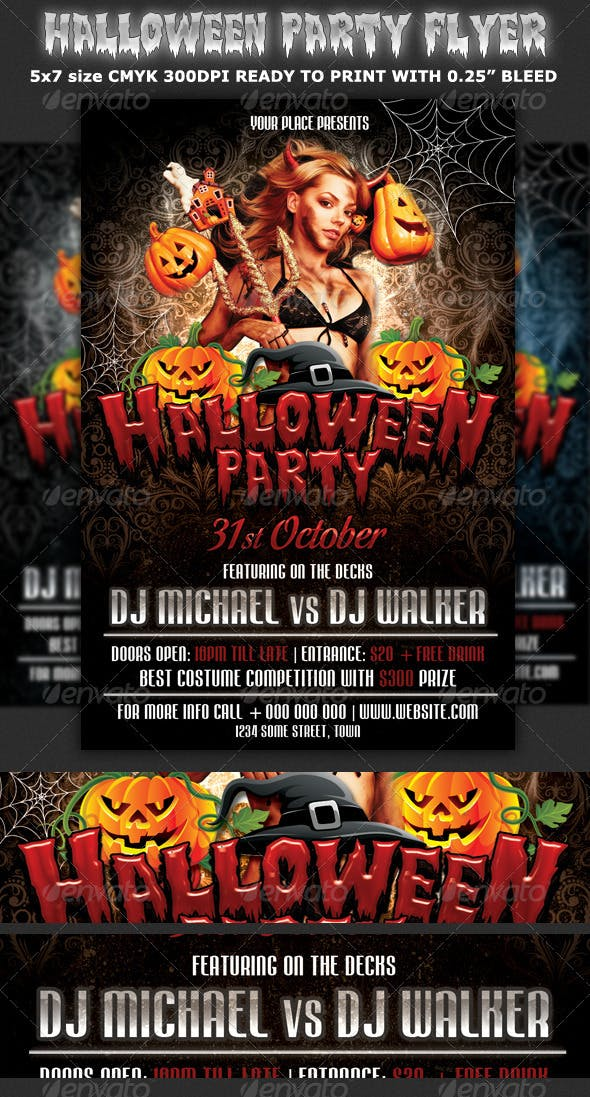 halloween party flyer template by hotpin graphicriver