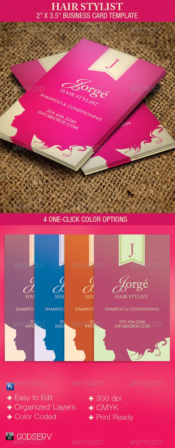 Hair Stylist Business Card Template By Godserv Graphicriver