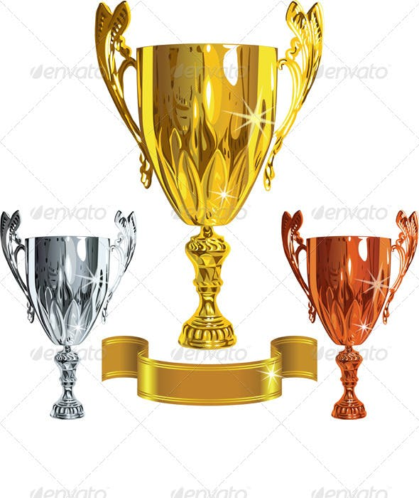 winning success cups and gold ribbon by kavalenkava graphicriver