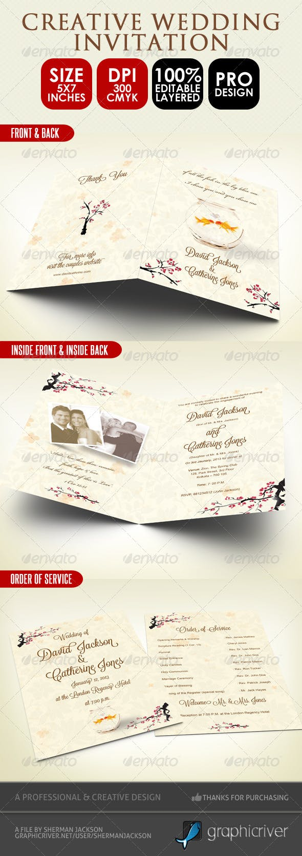 Creative Wedding Card Order Of Service Psd By Shermanjackson