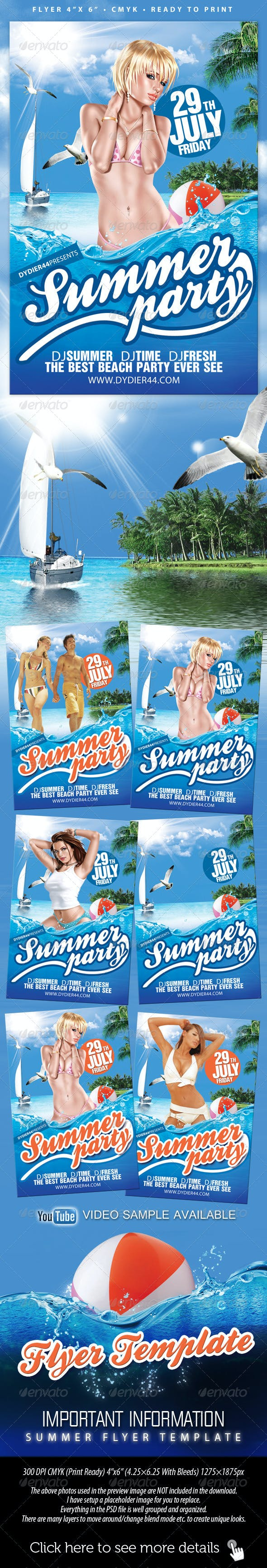 summer party flyer template 4x6 by dydier44 graphicriver