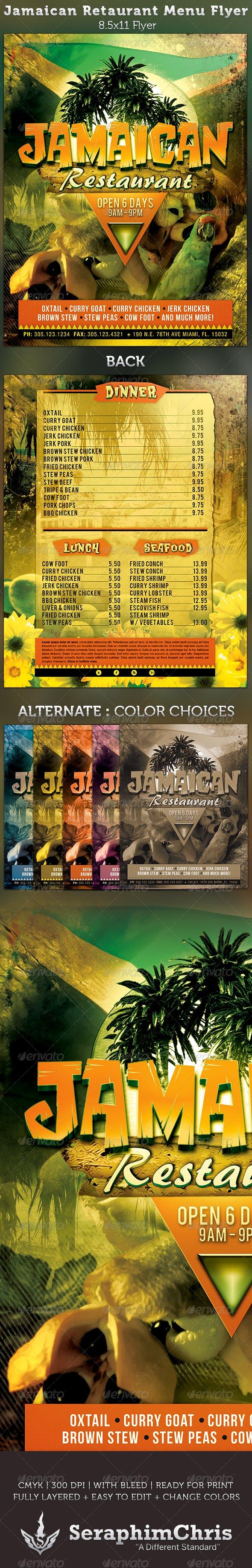 jamaican restaurant menu flyer template by seraphimchris graphicriver