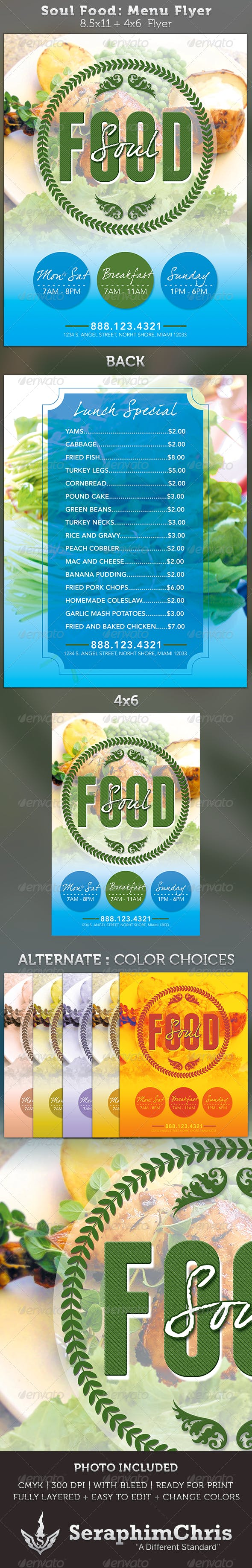 soul food menu flyer template by seraphimchris graphicriver