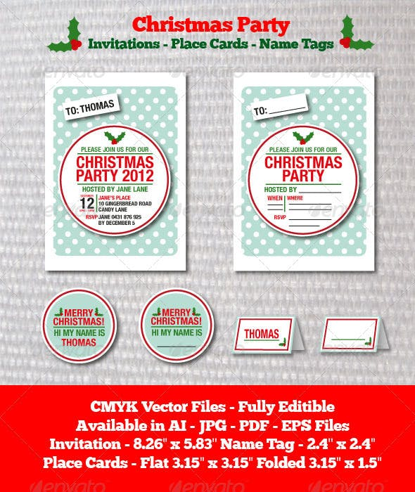 christmas party invitation template cards invites print templates