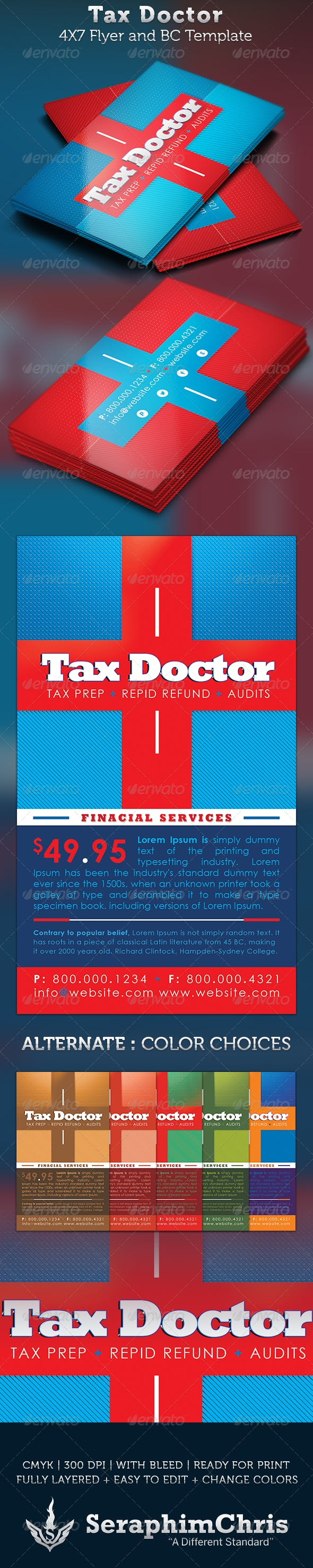 Tax Doctor Business Card And Flyer Template