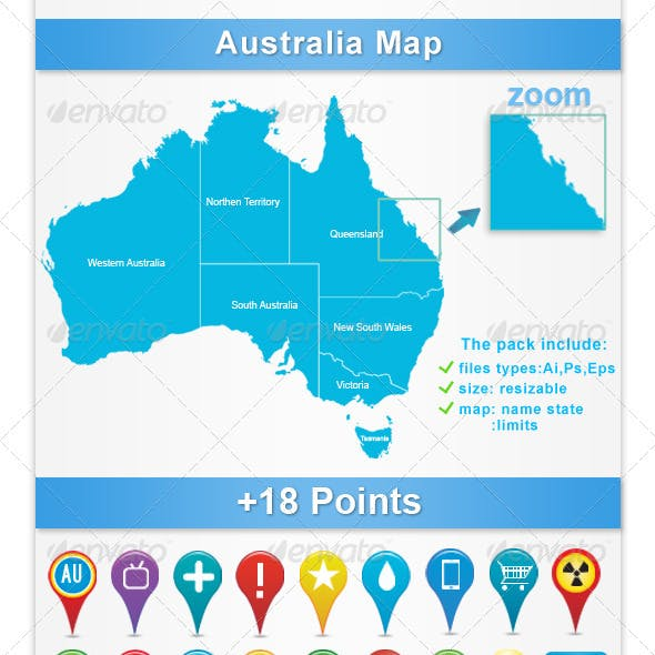 Australia Map Vector Ai.Australia Map Vectors From Graphicriver