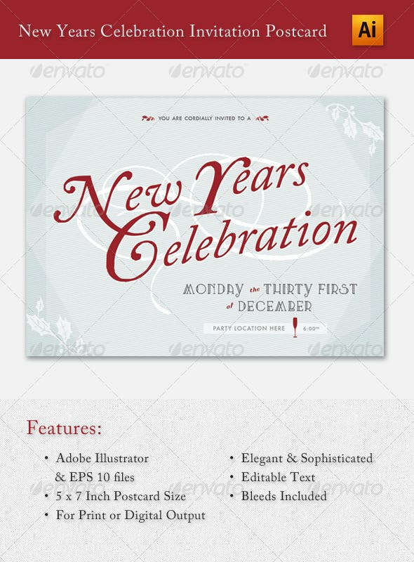 new years celebration invitation postcard holiday greeting cards