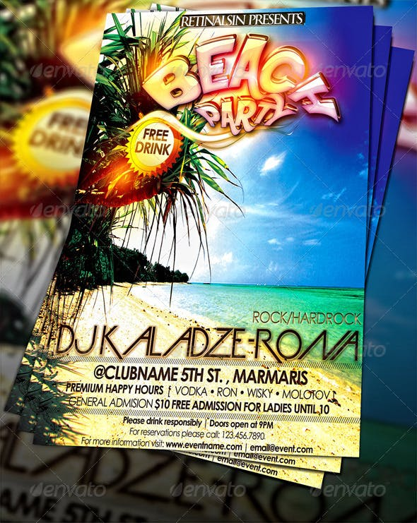 Beach Party Flyer Template By Mexelina Graphicriver