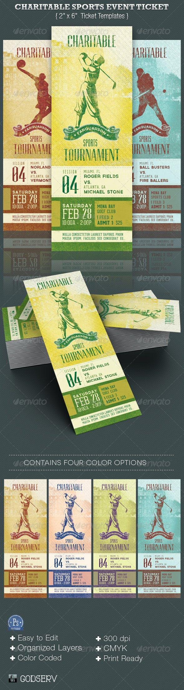 charitable sports event ticket template by godserv graphicriver