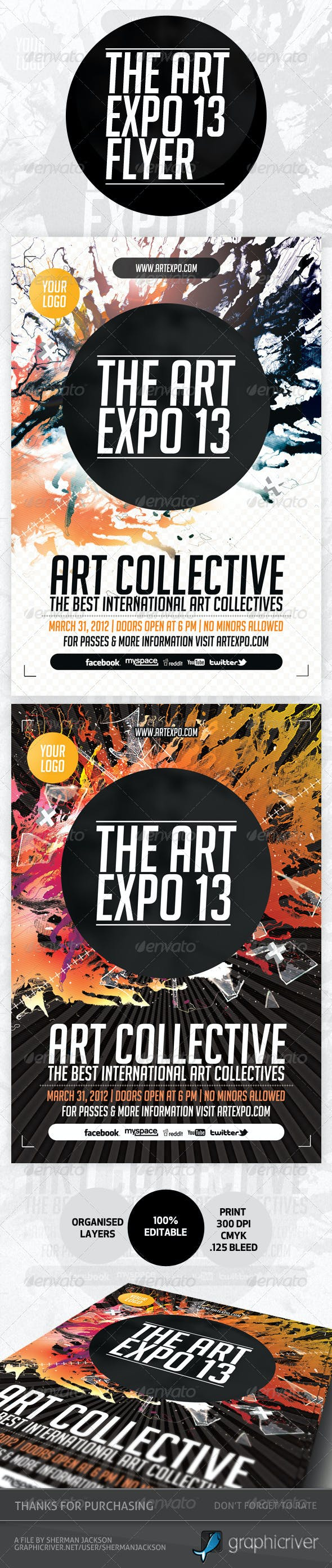 art expo art show event flyer template psd by shermanjackson