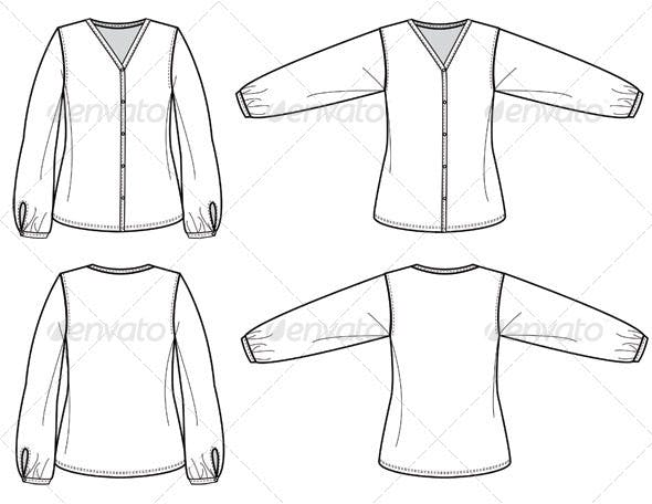 Fashion Flat Sketches for Womens Silk Blouse by studio524