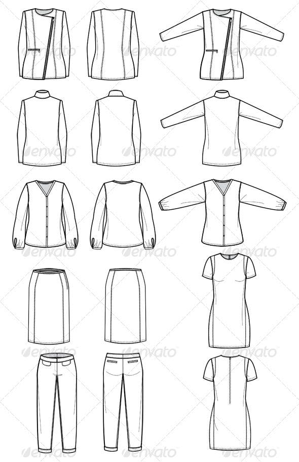 Fashion Flat Sketches for Womens Work Wear by studio524